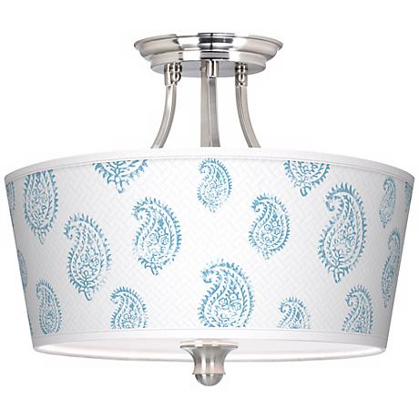 Paisley Snow Tapered Drum Giclee Ceiling Light