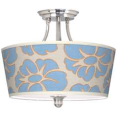 Floral Blue Silhouette Tapered Drum Giclee Ceiling Light