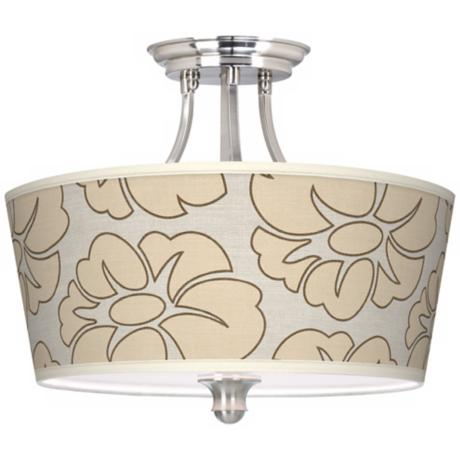 Floral Silhouette Tapered Drum Giclee Ceiling Light