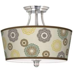 "Ornaments Linen Giclee Drum Shade 18"" Wide Ceiling Light"