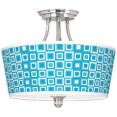 "Blue Boxes Linen Giclee Tapered Drum 18"" Wide Ceiling Light"