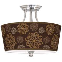 "Chocolate Blossom Linen Tapered Drum 18"" Wide Ceiling Light"