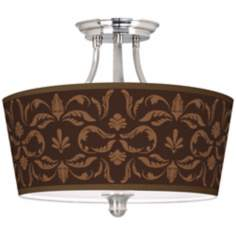 "Mocha Flourish Linen Tapered Drum 18"" Wide Ceiling Light"