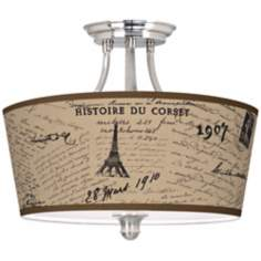 "Letters to Paris Linen Tapered Drum 18"" Wide Ceiling Light"