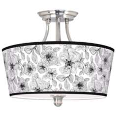 Stacy Garcia Linear Floral Tapered Drum Giclee Ceiling Light