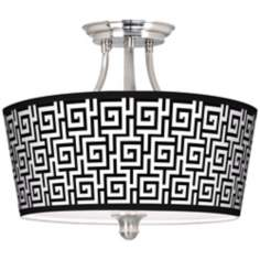 Greek Key Tapered Drum Giclee Ceiling Light