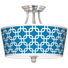Blue Lattice Tapered Drum Giclee Ceiling Light