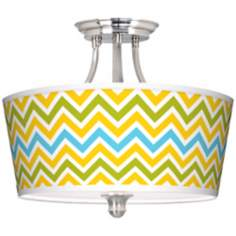 Citrus Zig Zag Tapered Drum Giclee Ceiling Light