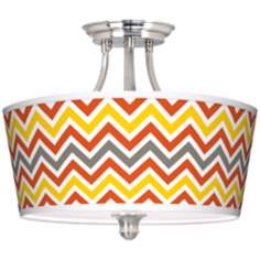 Flame Zig Zag Tapered Drum Giclee Ceiling Light