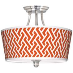 Red Brick Weave Tapered Drum Giclee Ceiling Light