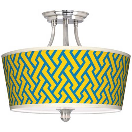 Yellow Brick Weave Tapered Drum Giclee Ceiling Light