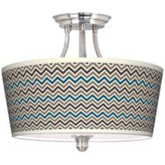 Zig Zag Tapered Drum Giclee Ceiling Light