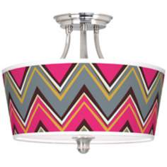 "Stacy Garcia 18"" Wide Chevron Pride Pink Ceiling Light"