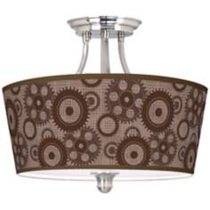 Industrial Gears Tapered Drum Giclee Ceiling Light