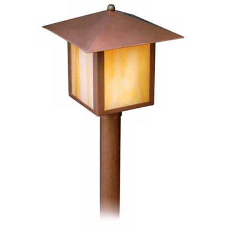 "Copper and Honey Glass Lantern 16 1/2"" High Path Light"