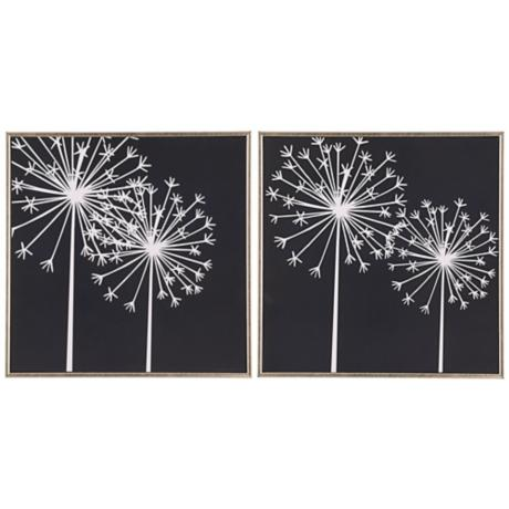 Set of 2 Dandelions I and II Black and White Wall Art