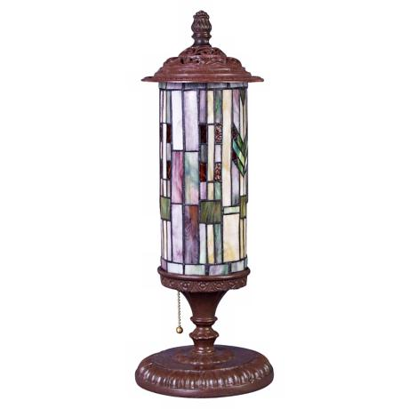 Mission Tiffany Style Glass Cylinder Lamp
