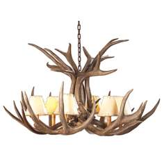 "Mule Deer Antler 34"" Wide Chandelier"