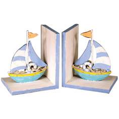 Pastel Beach Sailboat Bookends