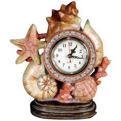 "Sea Shell 9"" Wide Desk Clock"
