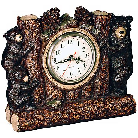 "Bear Family 8 1/2"" Wide Desk Clock"