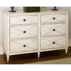 Hidden Treasures Antiqued White Criss-cross Drawer Chest