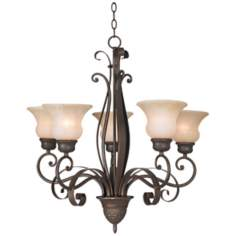 "Franklin Iron Works Scavo Glass 26 1/2"" Wide Chandelier"