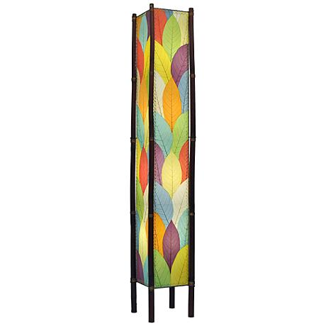 "Eangee Fortune Tower Multicolor Cocoa Leaves 72"" Floor Lamp"