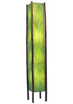 "Eangee Fortune Tower Green Cocoa Leaves 72"" High Floor Lamp"