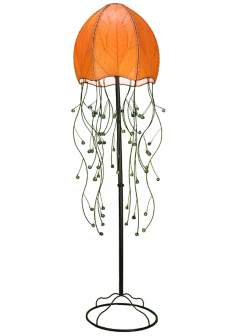 "Eangee Jellyfish Orange Cocoa Leaves 64"" High Floor Lamp"
