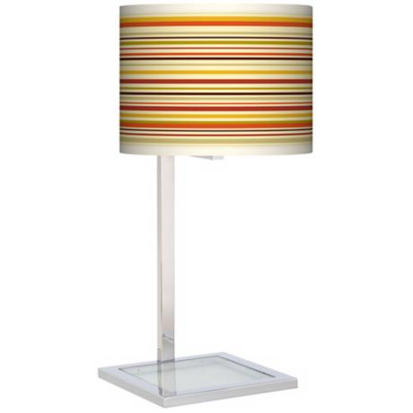 Stacy Garcia Lemongrass Stripe Glass Inset Giclee Table Lamp