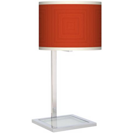 Stacy Garcia Crackled Square Coral Glass Inset Giclee Table Lamp