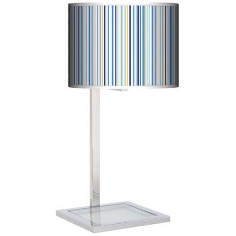 Stacy Garcia Cabana Stripe Glass Inset Giclee Table Lamp