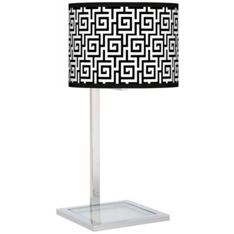 Greek Key Glass Inset Giclee Table Lamp