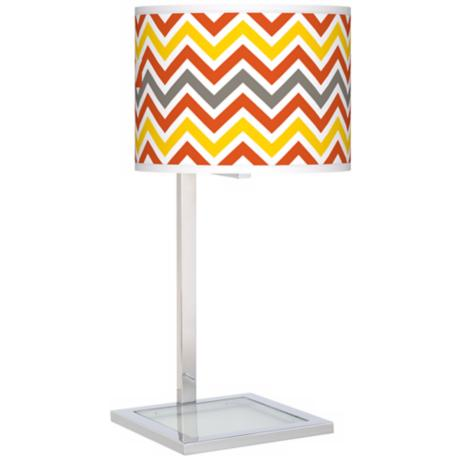 Flame Zig Zag Glass Inset Giclee Table Lamp