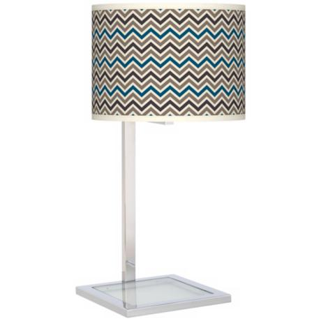 Zig Zag Glass Inset Giclee Table Lamp