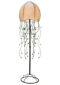 "Eangee Jellyfish Natural Cocoa Leaves 64"" High Floor Lamp"