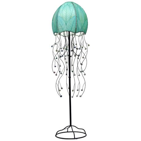 "Eangee Jellyfish Blue Cocoa Leaves 64"" High Floor Lamp"