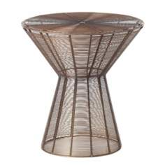 Elton Vintage Brass Finish Iron Wire Accent Table