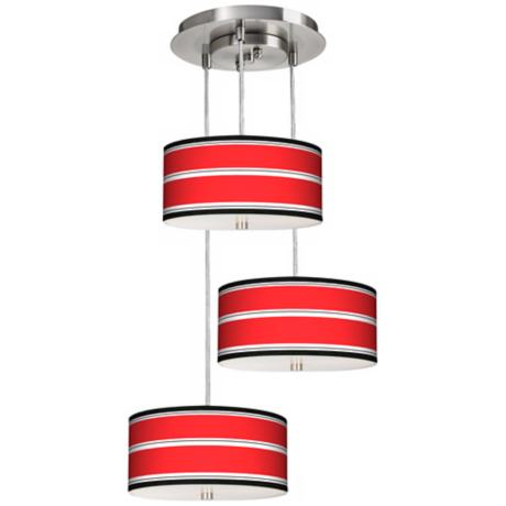 Red Stripes 3-in-1 Drum Giclee Pendant