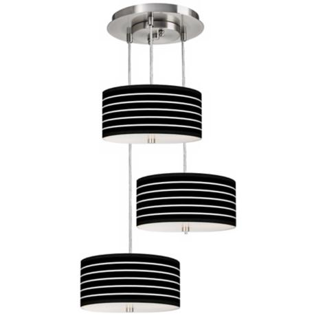 Bold Black Stripe 3-in-1 Drum Shade Giclee Pendant