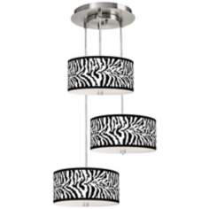 Safari Zebra 3-in-1 Drum Shade Giclee Pendant
