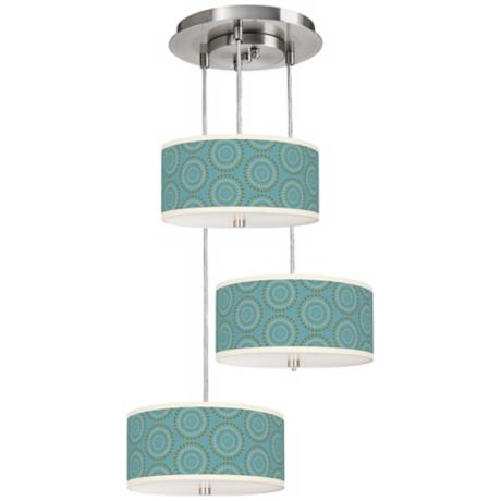 Blue Calliope Linen 3-in-1 Drum Shade Giclee Pendant