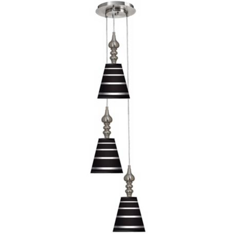 Bold Black Stripe 3-in-1 Metal Cone Giclee Pendant