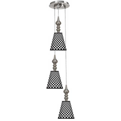 Checkered Black 3-in-1 Metal Cone Giclee Pendant