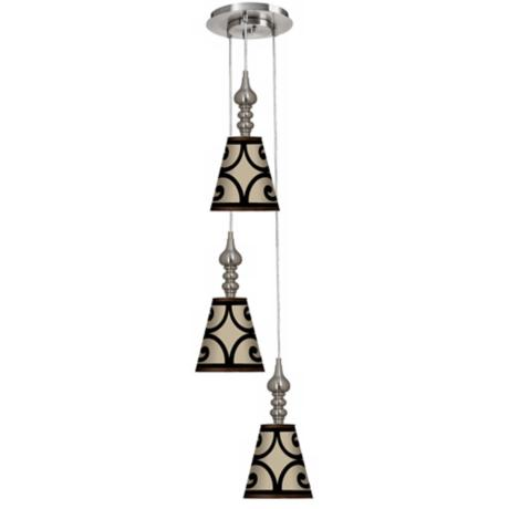Cambria Scroll 3-in-1 Metal Cone Giclee Multi Light Pendant