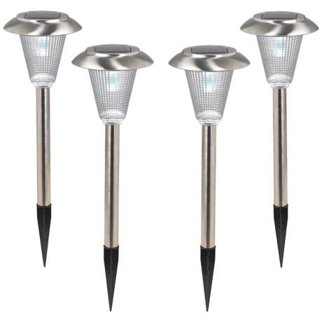 "Set of 4 Steel Finish 5"" Wide Solar LED Landscape Lights"