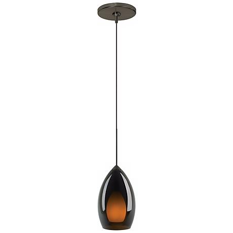 Fire Havana Brown Murano Glass Bronze Tech Lighting Mini Pendant