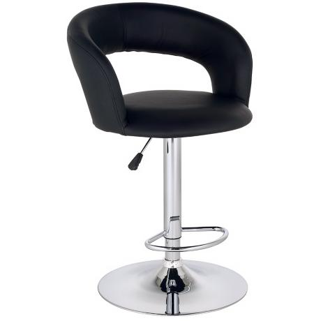 Groove Faux Leather Adjustable Height Black Bar Stool