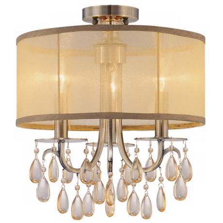 "Crystorama Hampton Collection Brass 14"" Wide Ceiling Light"